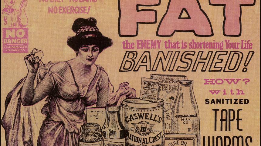 Dobová reklama na tasemnice v plechovce. Zdroj: Wikimedia Commons, The U.S. Food and Drug Administration, Volné dílo