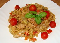 Bulgur s vepřovým masem a zeleninou