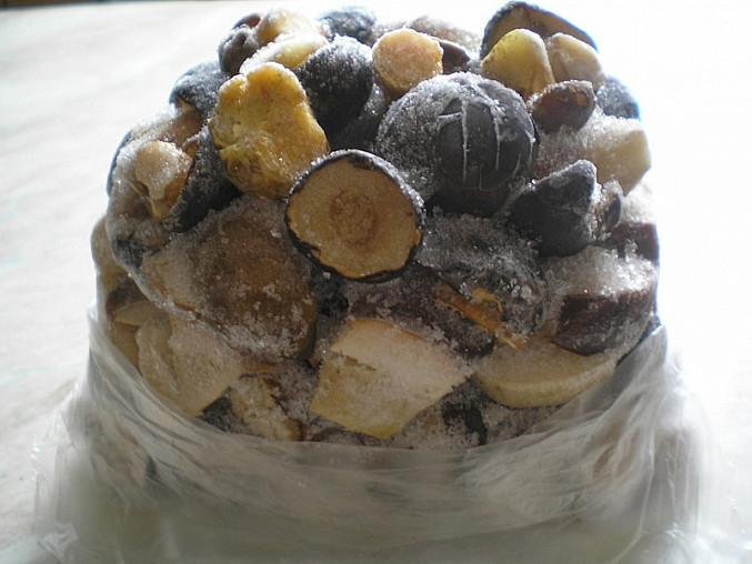 Buši houbová omáčka, Houby vyndané z mrazáku a zrovna rozbalené