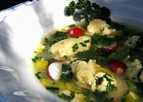Bylinková polévka s ředkvičkami a sýrovými nočky