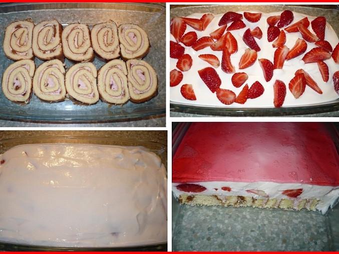 postup přípravy - s piškotovou roládou, jogurtová směs z poloviční dávky, nahoře jahodové želé.