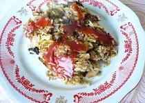 Zapékaná kapusta s houbami a rýží