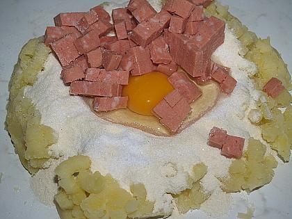 bramborové šišky s fazolkami
