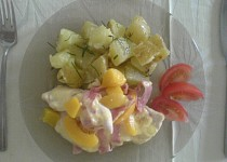 Kuřecí maso s broskví a sýrem