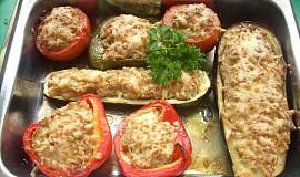 Zapečená zelenina s mletým masem
