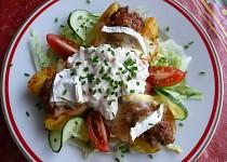 Plněné brambory mletým masem a Hermelínem