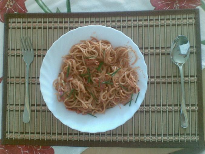 Špagety na slanině