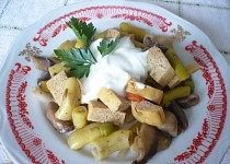 Tofu s fazolkami a žampiony