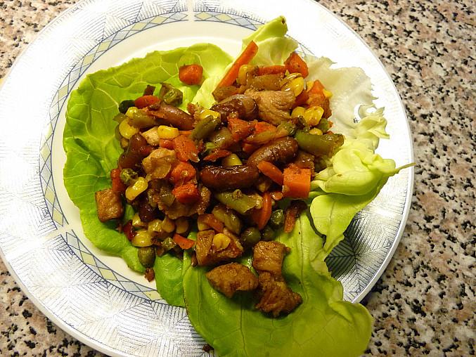 Drůbeží maso 2 krát jinak, Salát + maso