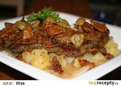 Marinovaná roštěná s česnekem a olivami