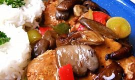 Vepřové na zelenině s opečenou hlívou