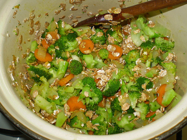 zelenina + vločky osmažíme...