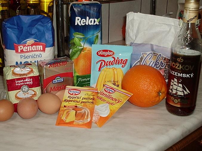 Piškotová buchta s tvarohem a pomerančovým želé, suroviny