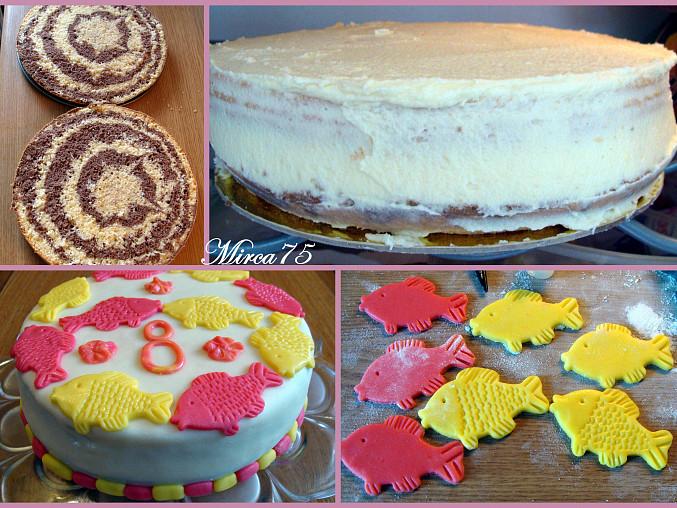 Korpus + mazání dortu + konečný výsledek + zdobení