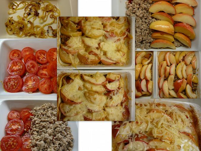 Zapečená jablka s mletým masem a rajčaty