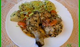 Kuře na víně, houbách a zelenině