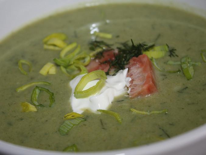 Pórková polévka s lososem a koprem, Pórková polévka s lososem a koprem