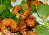Marinované krevety Gambas na pánvičce