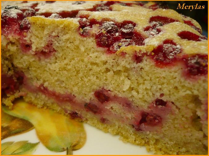 Ovocný koláč pečený v remosce, S rybízem a trošku víc skořice.Do formy dáno 1/2 těsta na to část rybízu, druhou polovinu a nahoru zbytek rybízu.