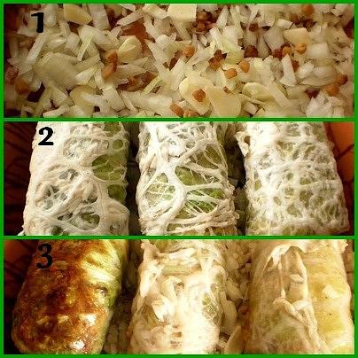 1.do zapékací nádoby dáme tuk,cibulku s česnekem a slaninkou2.narovnáme závitky a dáme na 10minut zapéct3.závitky otočíme,podlijeme a 15 minut dopečeme