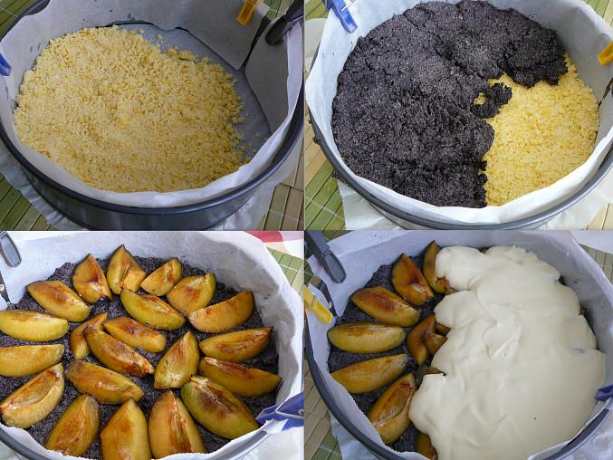 1.vrstva drobenka; 2.máková náplň; 3.švestky; 4.tvarohová náplň