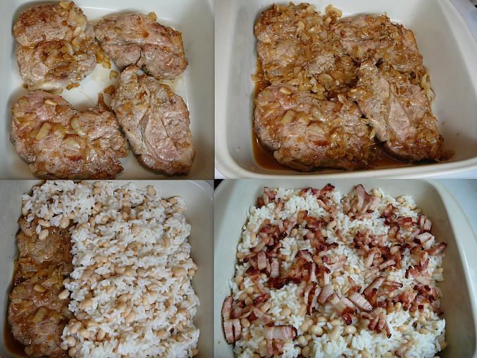 osmaženou cibuli s masem do pekáče,zasypeme směsí rýže+fazolí,zalijeme křupavou slaninou a zapečeme