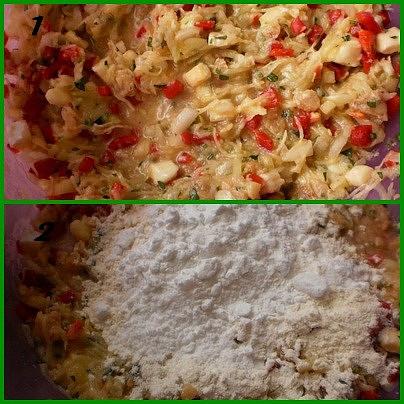 1.přidáme vajíčka,koření a promícháme2.zasypeme moukou a solamylem a vypracujeme těsto na placky