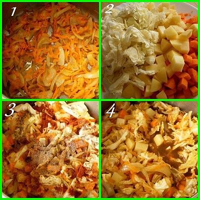 1.orestujeme cibuli a mrkev2.přidáme zeleninu3.přidáme koření4.zalijeme a vaříme