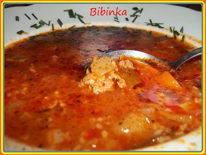 Rajčatovo-papriková polévka s mletým masem