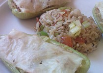 Zapečená paprika s rýží a tofu s mořskou řasou