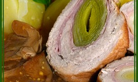Pórkové rolády na houbách