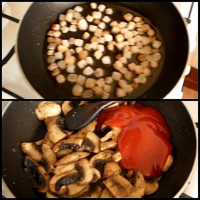 vyškvařenou slaninu dáme bokem,v troše tuku orestujeme žampiony a přidáme kečup