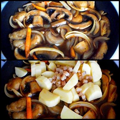 přidáme cibuli a papriky,chvíli restujeme,pak přisypeme brambory a slaninu