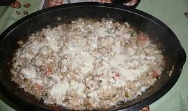 Zapečené houbové rizoto s kuřecím masem