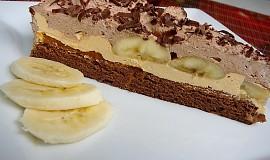 Čoko-karamelový řez s restovaným banánem