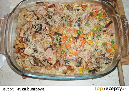 Zapečené rizoto s masem a houbami