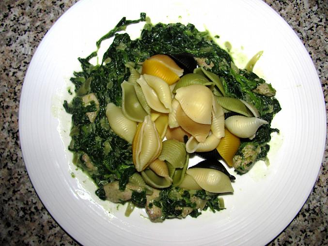 Jednoduché těstoviny s kuřetem a listovým špenátem