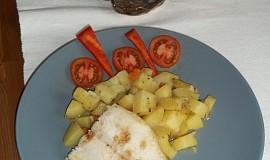 Dušený pangas se zeleninovými bramborami