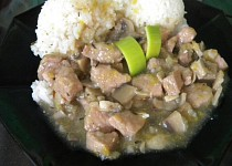 Vepřové maso na žampionech s rýží