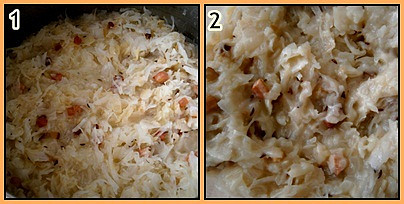 Sterilované zelí dušené v papiňáku, 1.přimícháme zelí+dl vody a vaříme 3minuty,2.uvařeno