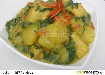Bramborové curry se špenátem