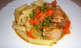 """Kuře """"Arvejado"""" (dušené kuře s hráškem)"""