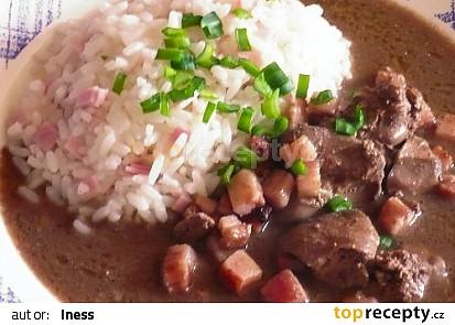 Játra na špeku se šunkovou rýží