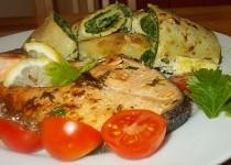 Špenátovo - mangoldové palačinky se slaninou/k lososovým steakům/