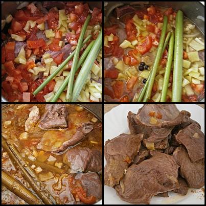 Přidáme ostatní suroviny,podlijeme vařící vodou a pod tlakem vaříme 40 minut.Měkké maso odložíme stranou.