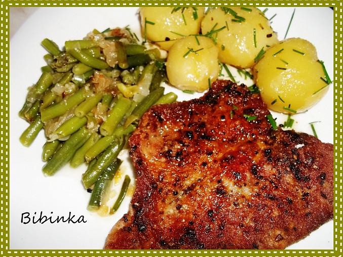 Zlatý krkovičkový steak s fazolkami, Zlatý krkovičkový steak s fazolkama