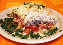 Rajčata zapečená s rýži, masem a paprikou