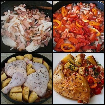 Kuřecí šťavnatý pekáček, Na osmahnutý č.bok dáme orestovat cibuli a česnek.Pak přidáme papriku,rajčata.Vložíme stehna,brambory,osolíme okmínujeme,podlijeme vodou a upečeme.
