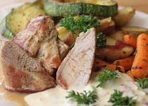 Panenka na minutku s pečenými brambory a zeleninou