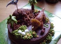Perníkový dinosauří dort